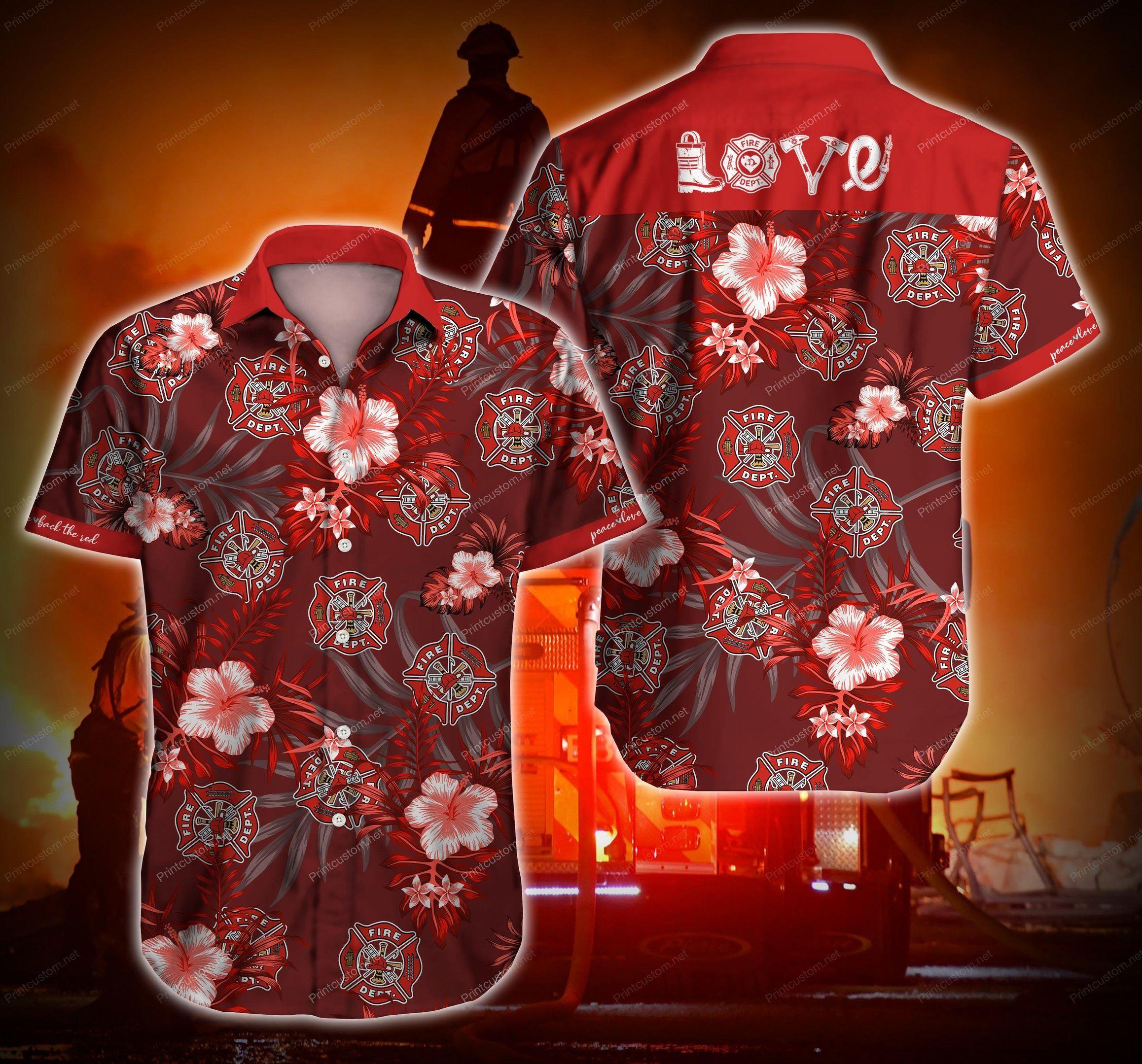 Firefighter Love Red in Fire Love Hawaii Shirt