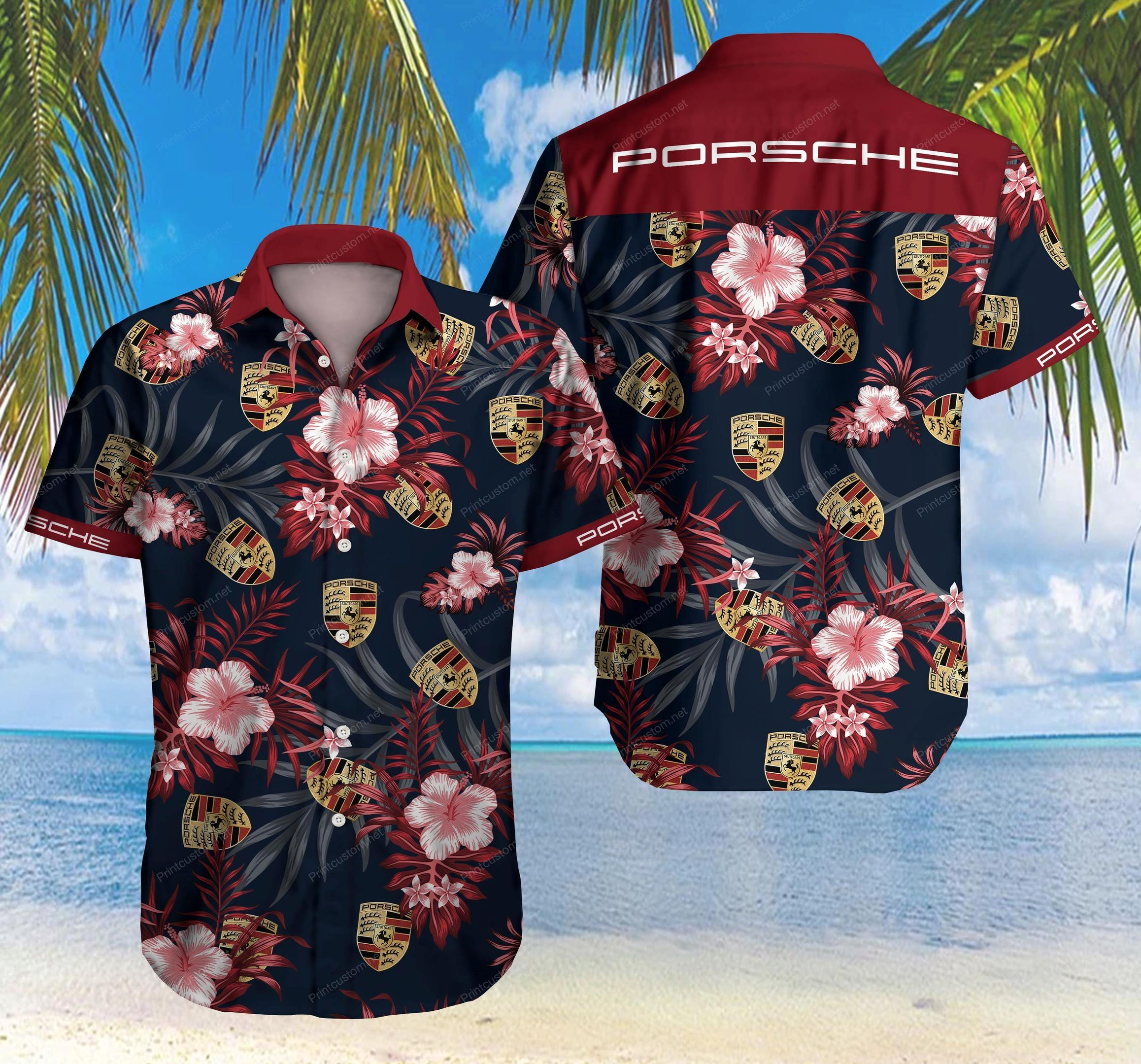 Porsche Flower Hawaii Shirt