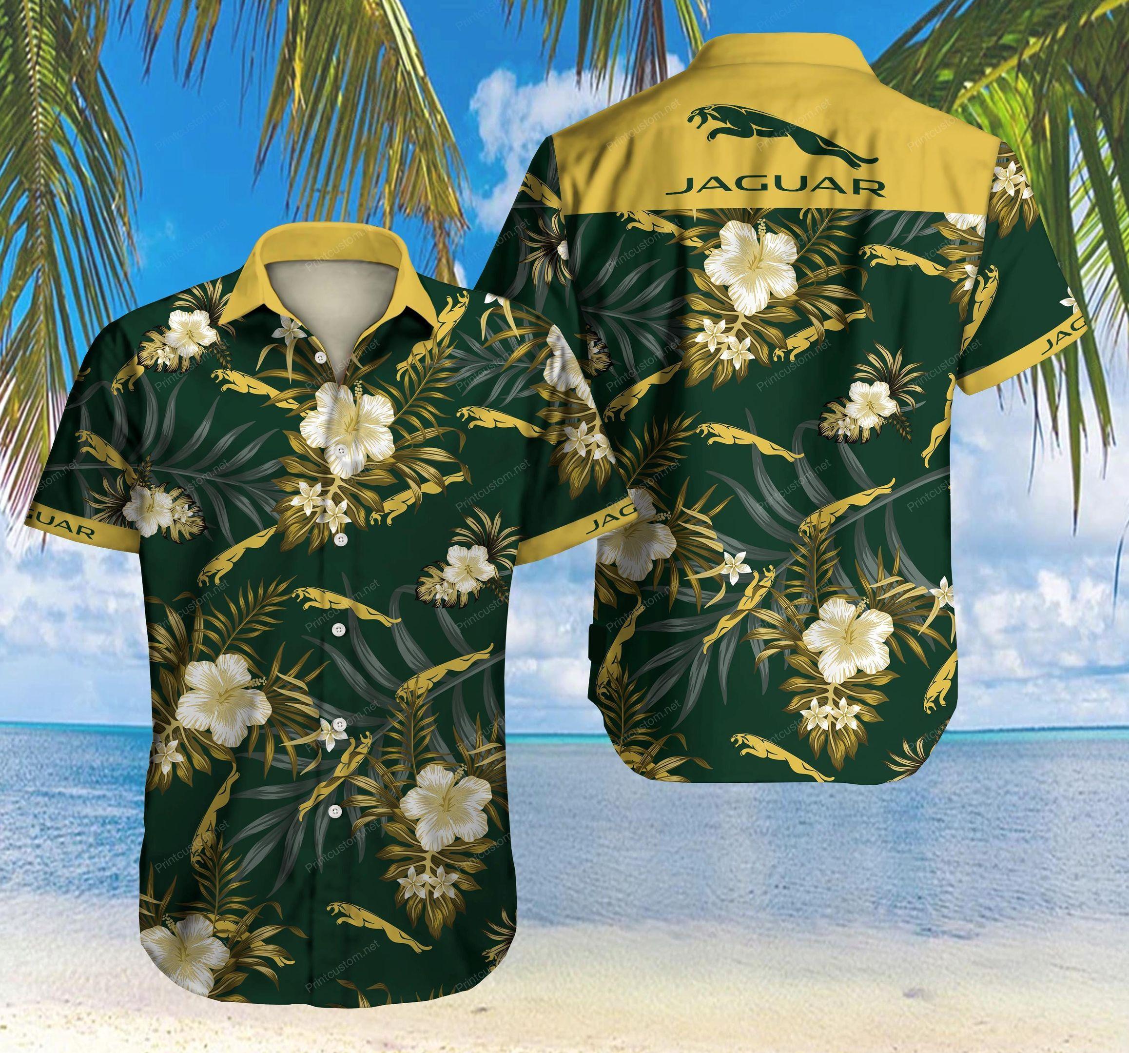 Jaguar Floral Hawaiian Shirt Summer Shirt