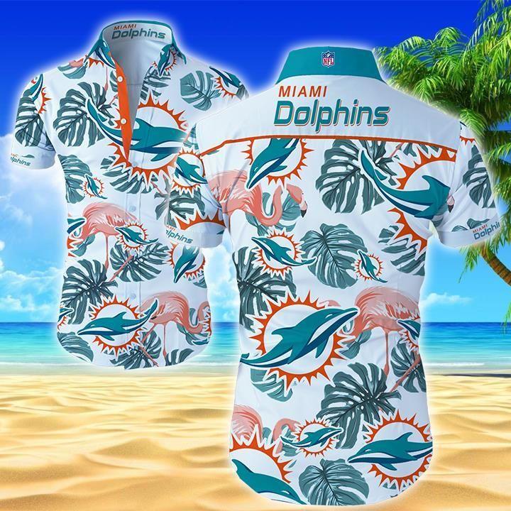 NFL Miami Dolphins Flamingo Hawaiian Shirt Button up Shirt