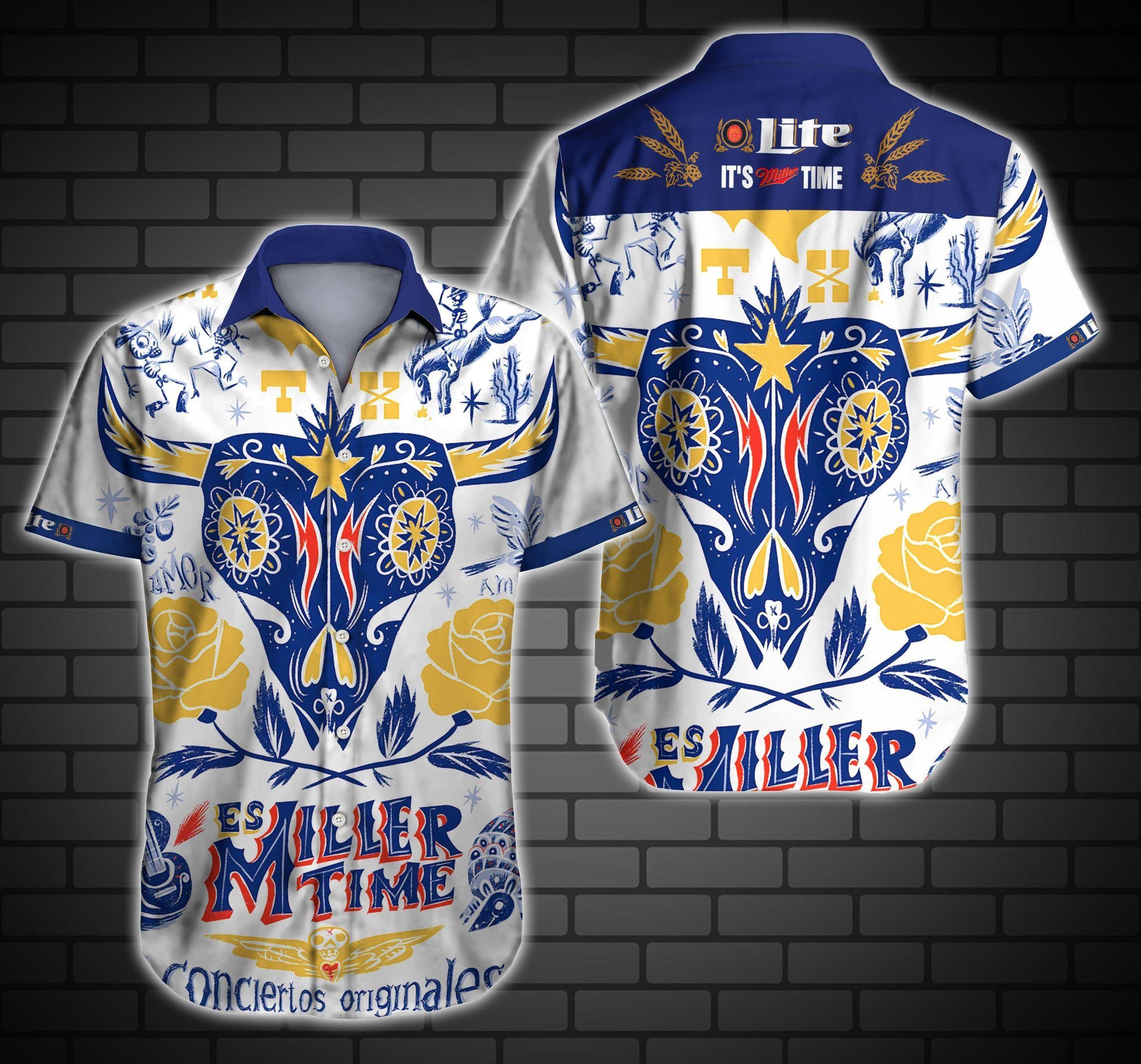 Miller Lite ES Miller Time Hawaiian Shirt