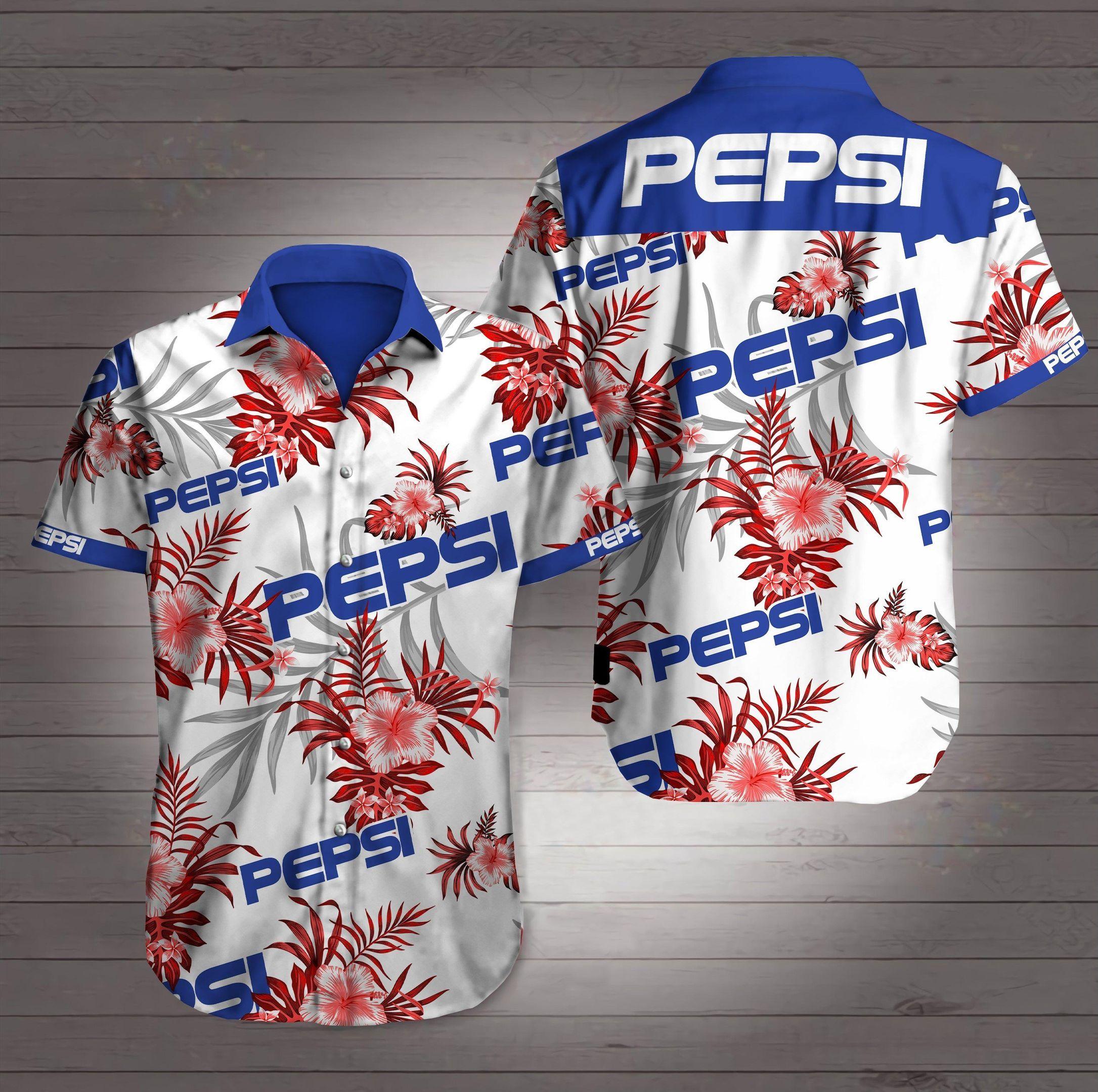 Pepsi White tone Hawaiian Shirt Summer Shirt