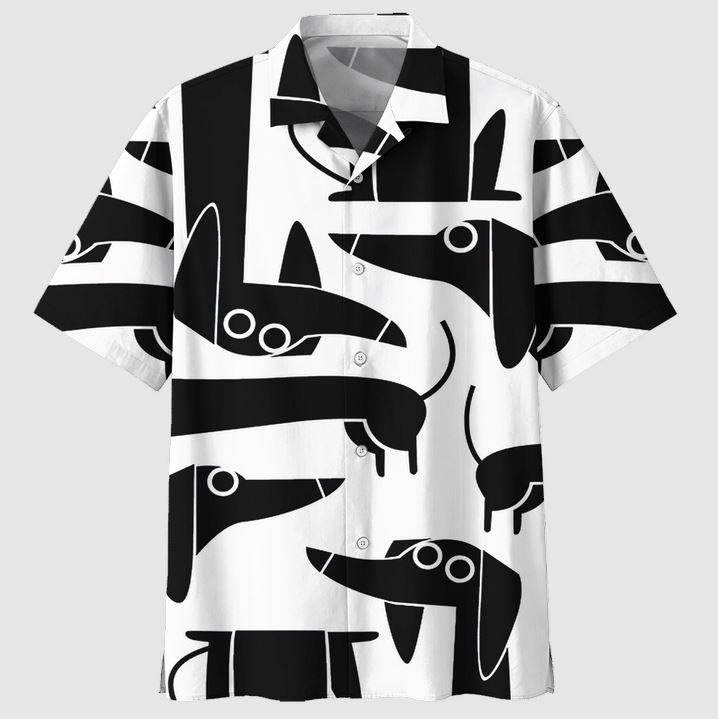 Dachshund Funny Black in white Hawaiian shirt