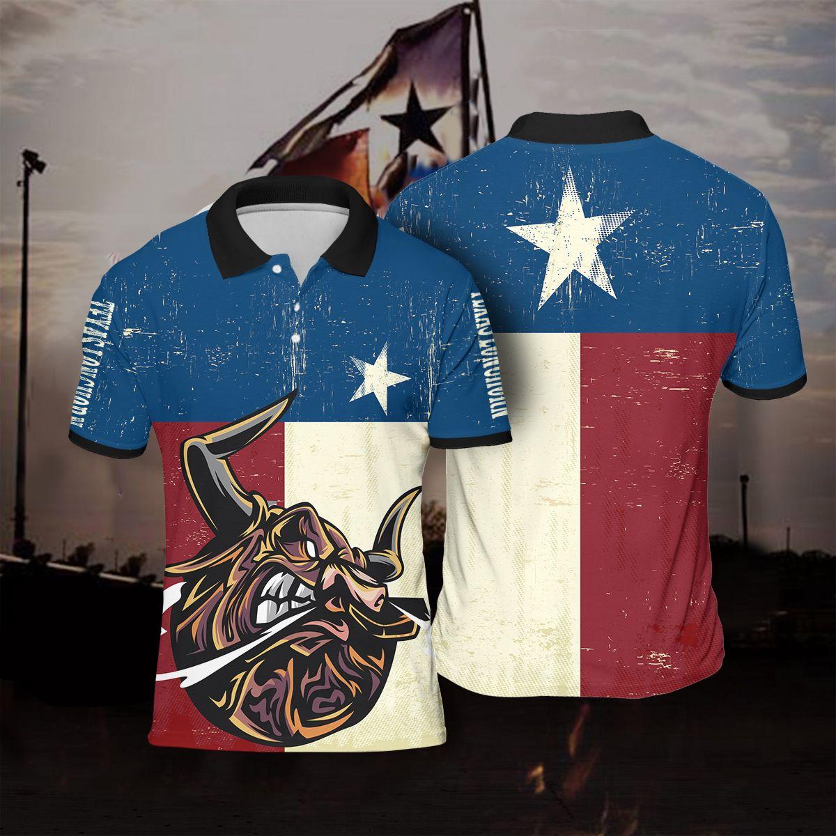 Flag Texas Longhorn Polo Shirt