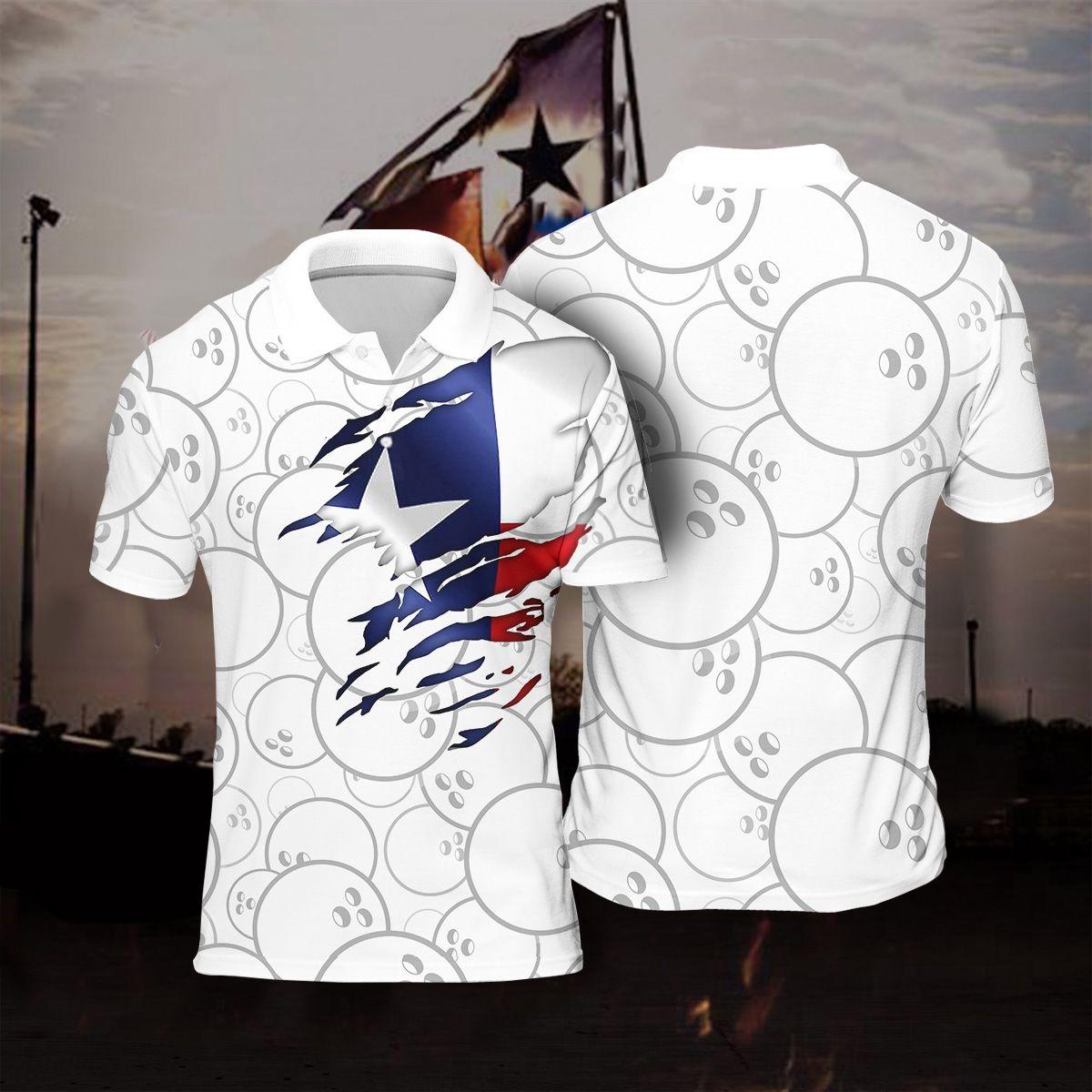 Bowling Texas Flag Background Polo Shirt White