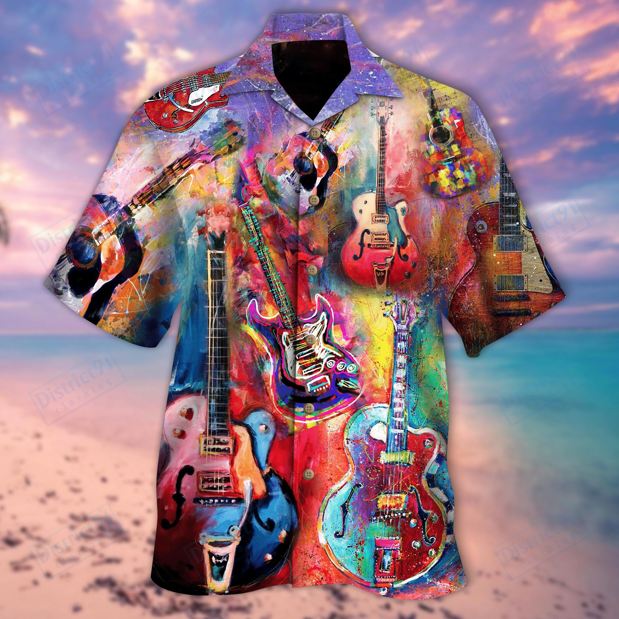 Colorful Guitar Unisex Hawaiian Shirt