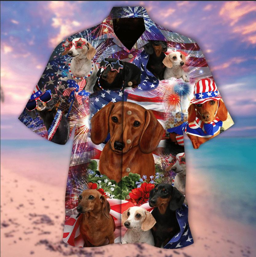 Patriotic Dachshund Hawaiian Shirt