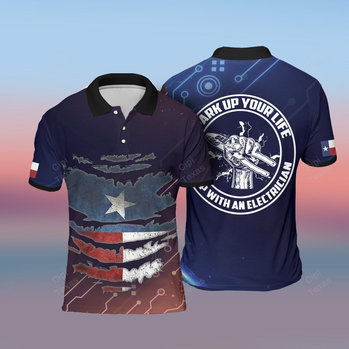 Spark up your life Electrician Texas 3D Polo Shirt