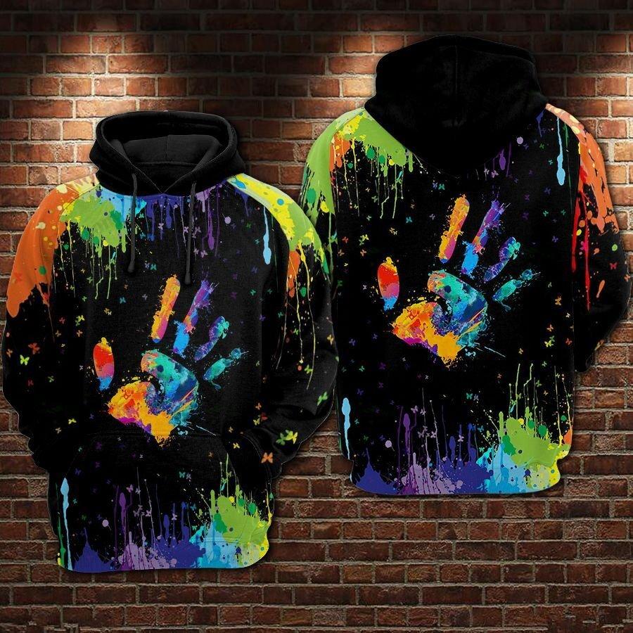 LGBT Pride Painted handprint Black Hoodie 3D