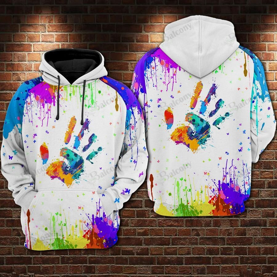 LGBT Pride Colorful Handprint White Hoodie 3D