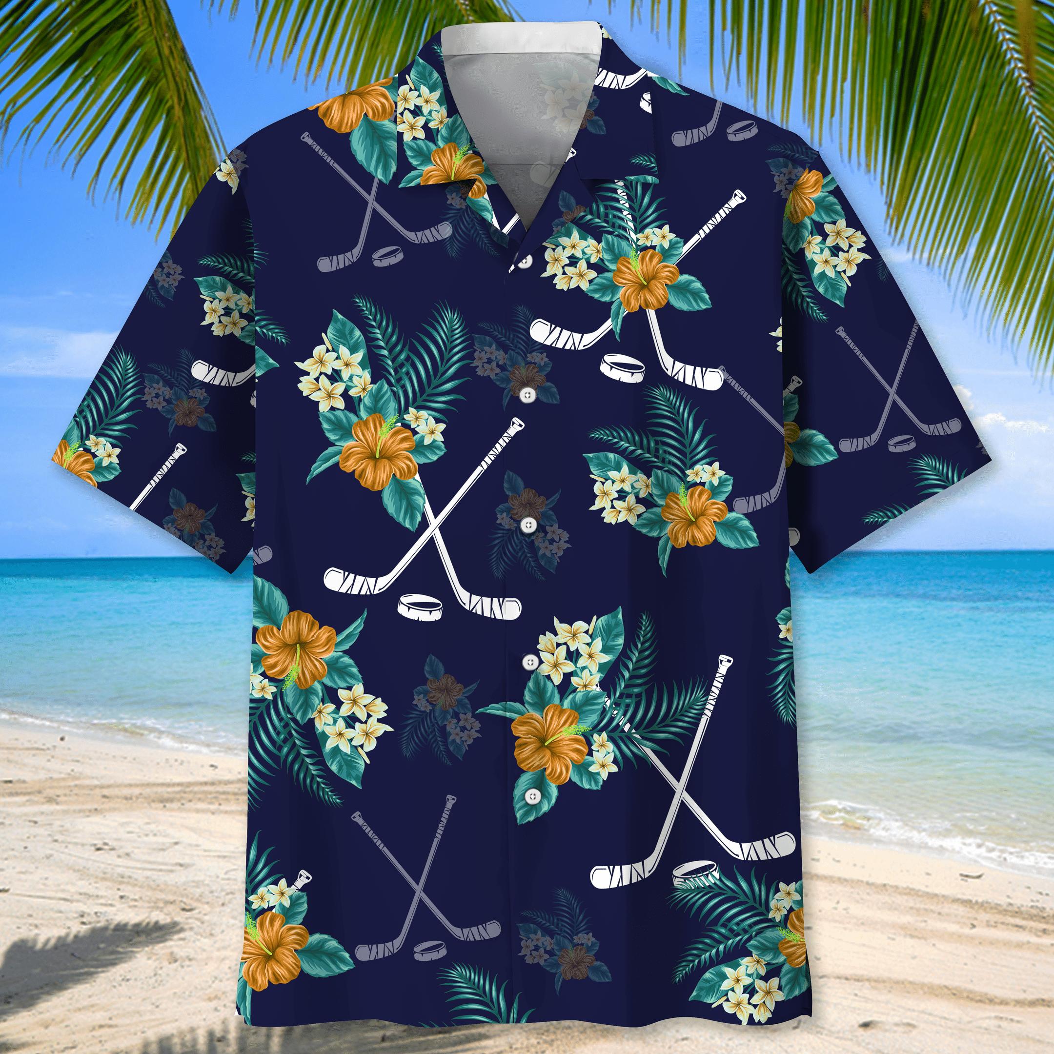 Hockey Hawaiian Tropical Shirt