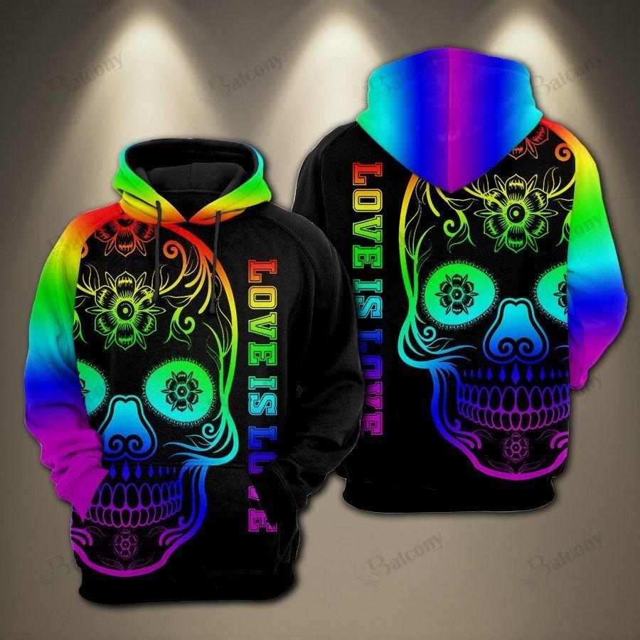 LGBT Skull Love is love Pride Color Hoodie 3D