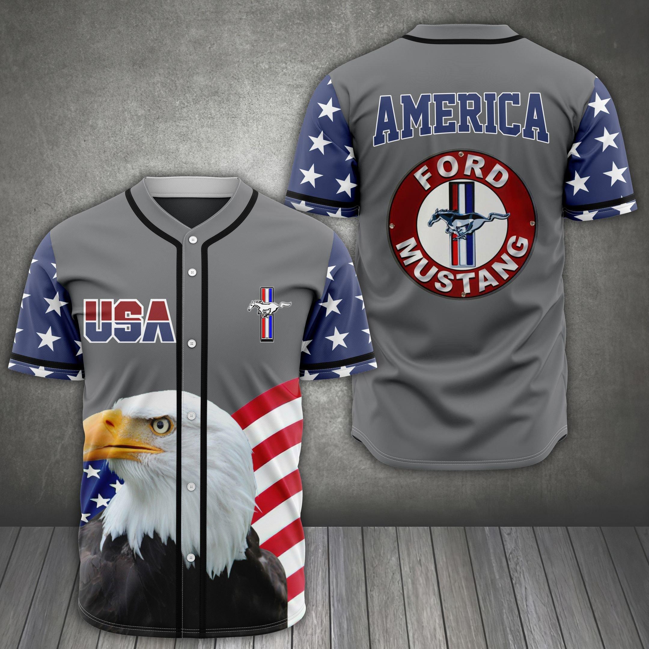 American Eagle Ford Mustang Baseball Jersey Shirt
