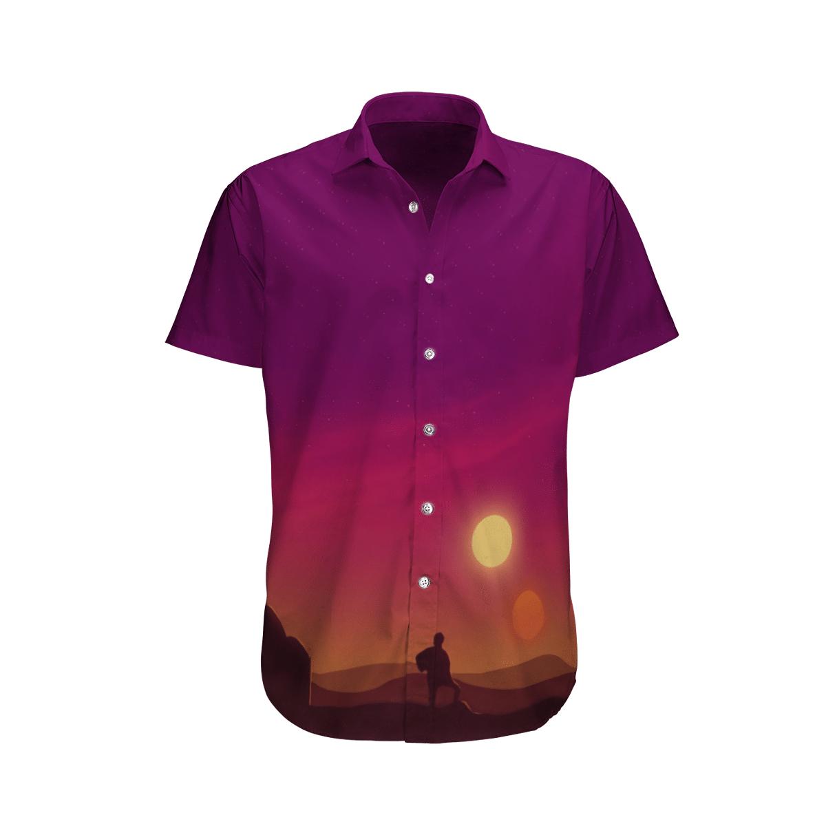 Star wars Man in Sunset Pinky Purple Hawaiian Shirt