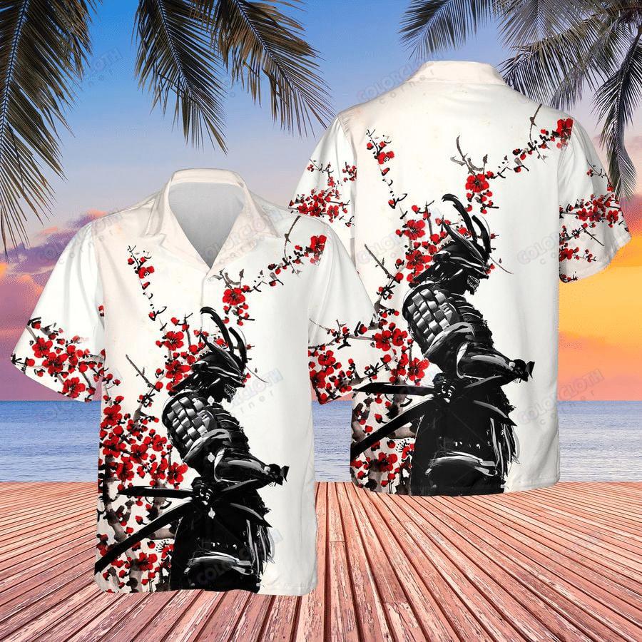 Samurai Warrior Red Flower Hawaiian Shirt