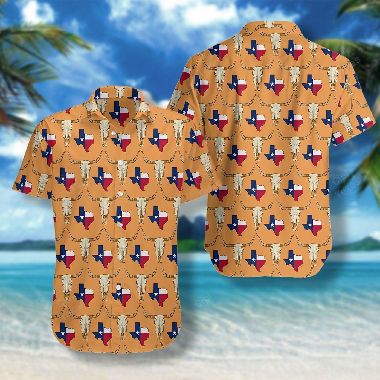 Longhorn Texas State Pattern Flag Hawaii Shirt