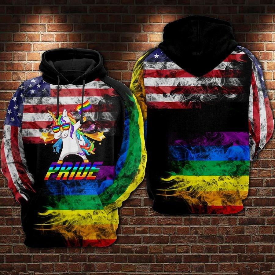 LGBT Unicorn Pride USA Flag hoodie 3D