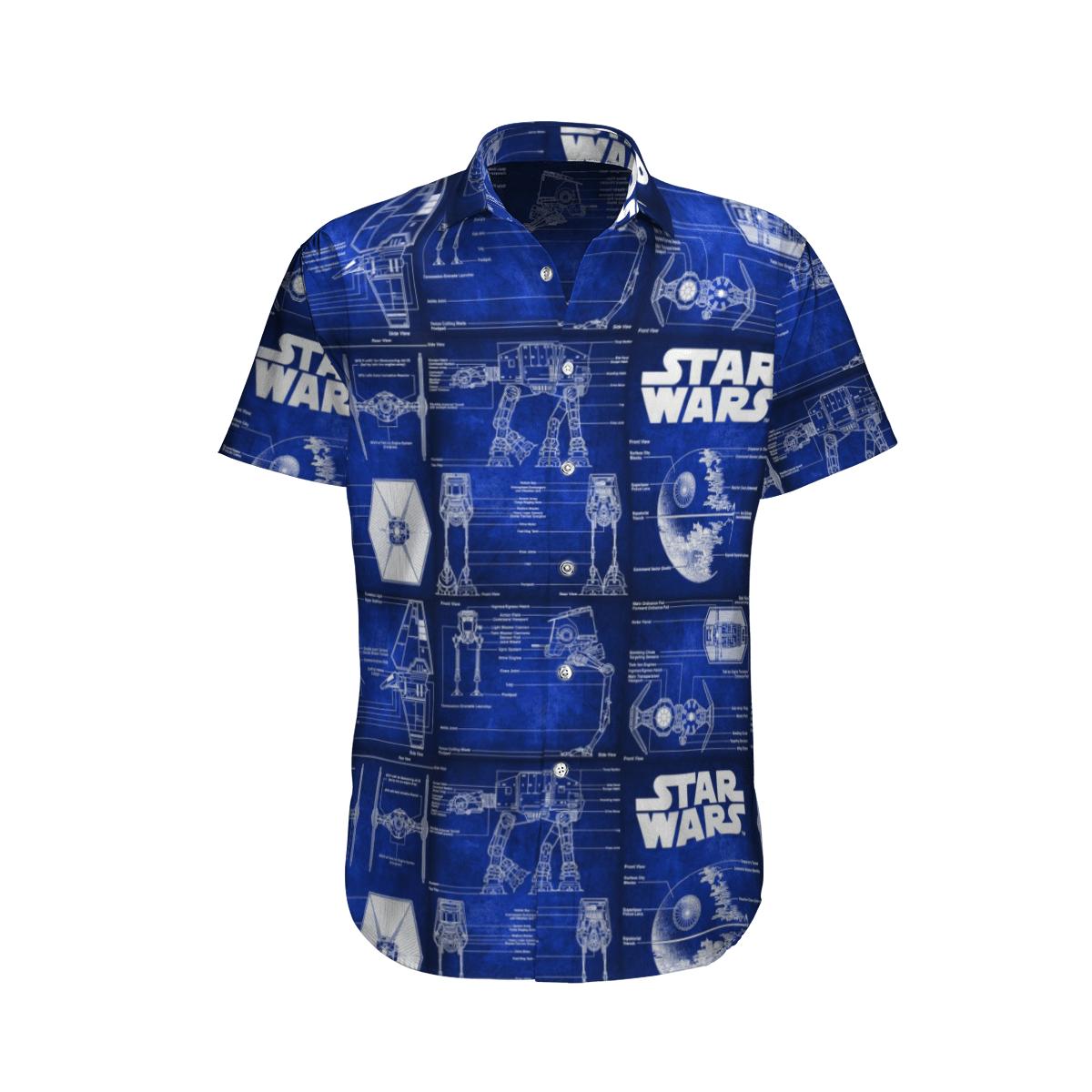 Star wars Detailed Structure of Spaceship Scan Hawaiian Shirt