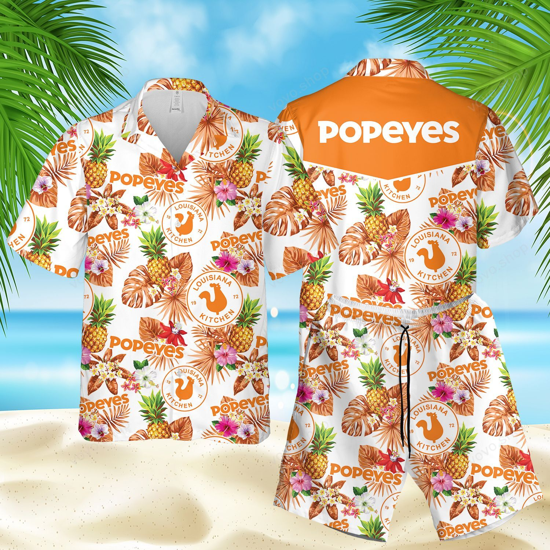 Popeyes Pineapple Flower Hawaiian Shirt and Beach Shorts