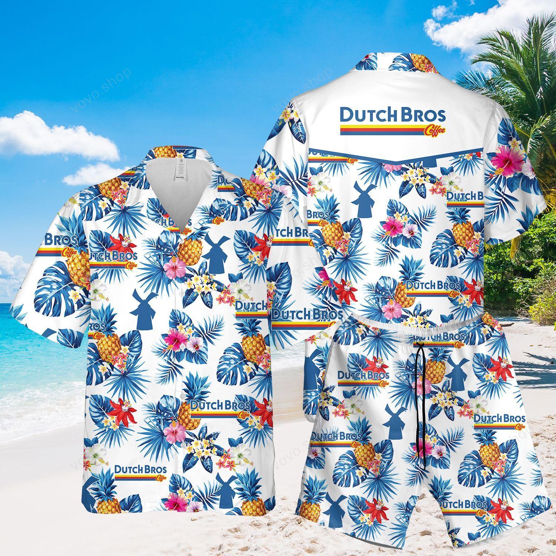 Dutch Bros Coffee Tropical Flower Hawaiian Shirt and Beach Shorts