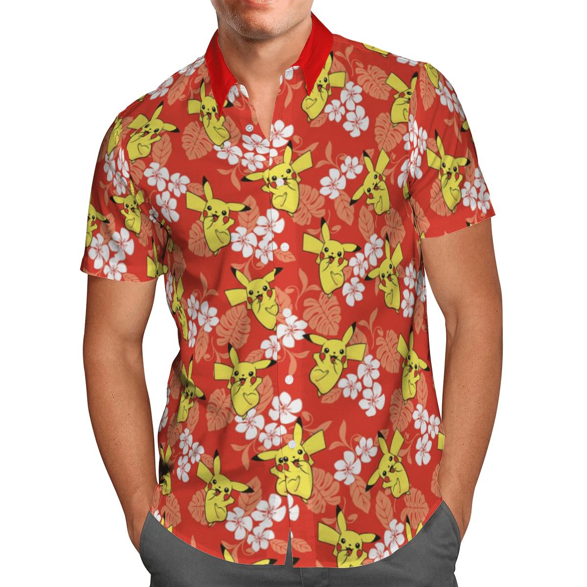 Pokemon Pikachu Tropical Beach Shirt And Shorts