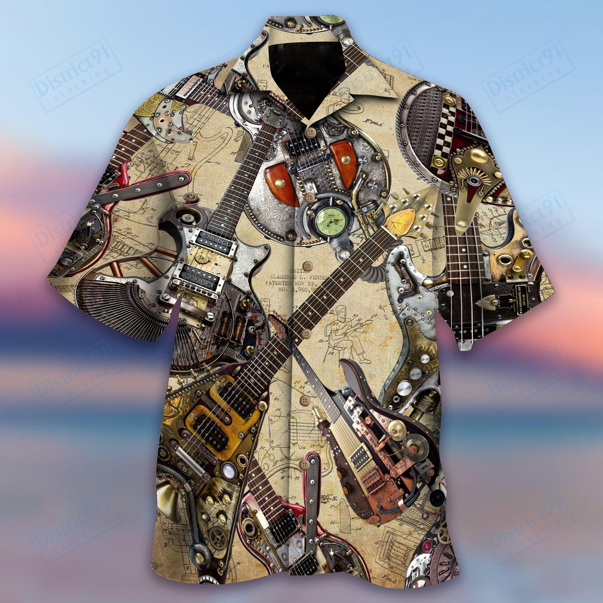 I Love My Steampunk Guitar Hawaiian Shirt