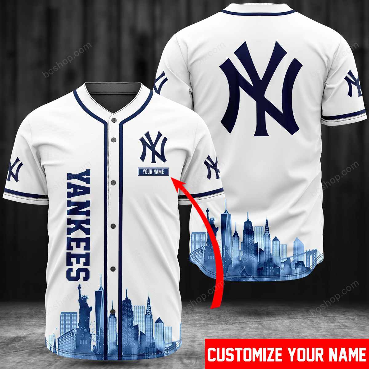 Personalized New York Yankees city view baseball Jersey shirt