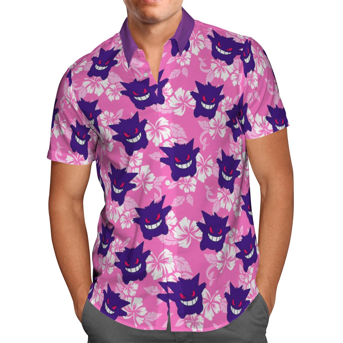 Pokemon Gengar Tropical Beach Hawaiian Shirt And Shorts