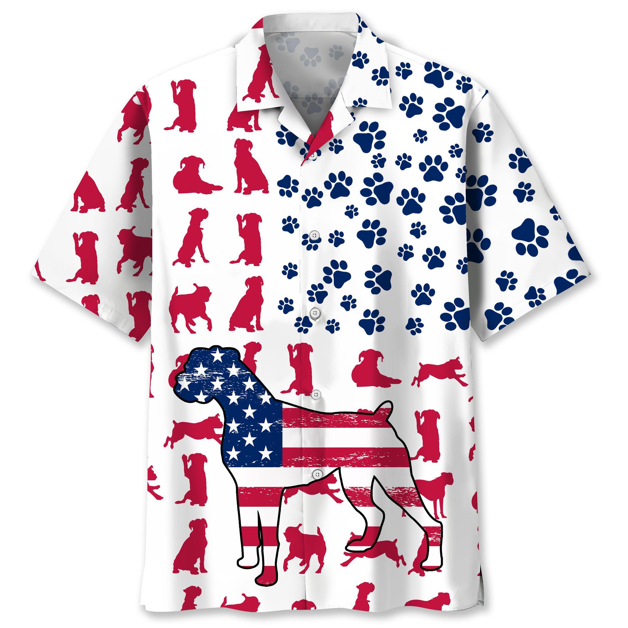 Boxer set icon usa flag Hawaiian shirt