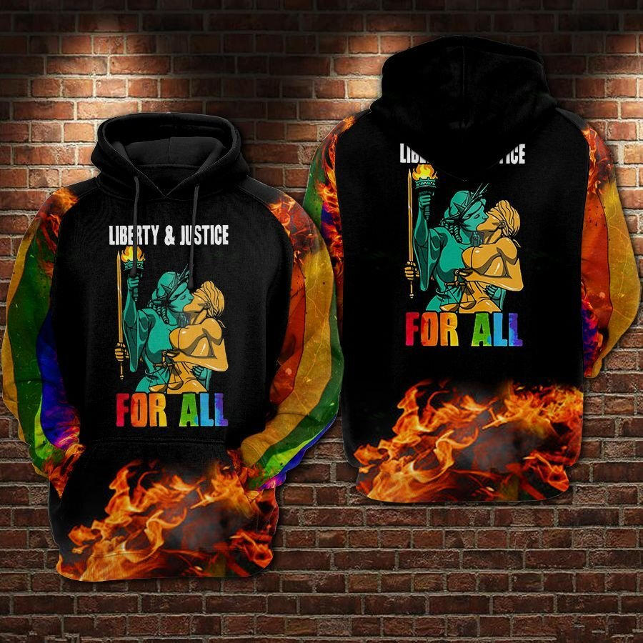 LGBT Liberty and Justice for all Statue of Liberty Hoodie 3D