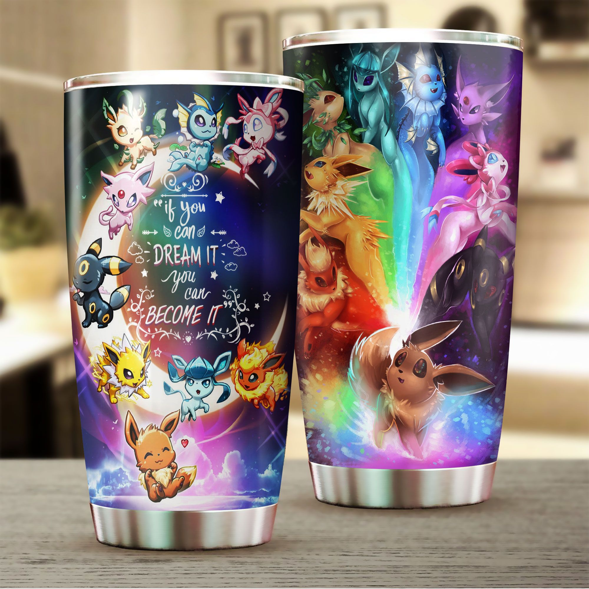 Eevee If you can dream it you can become it Tumbler Pokemon