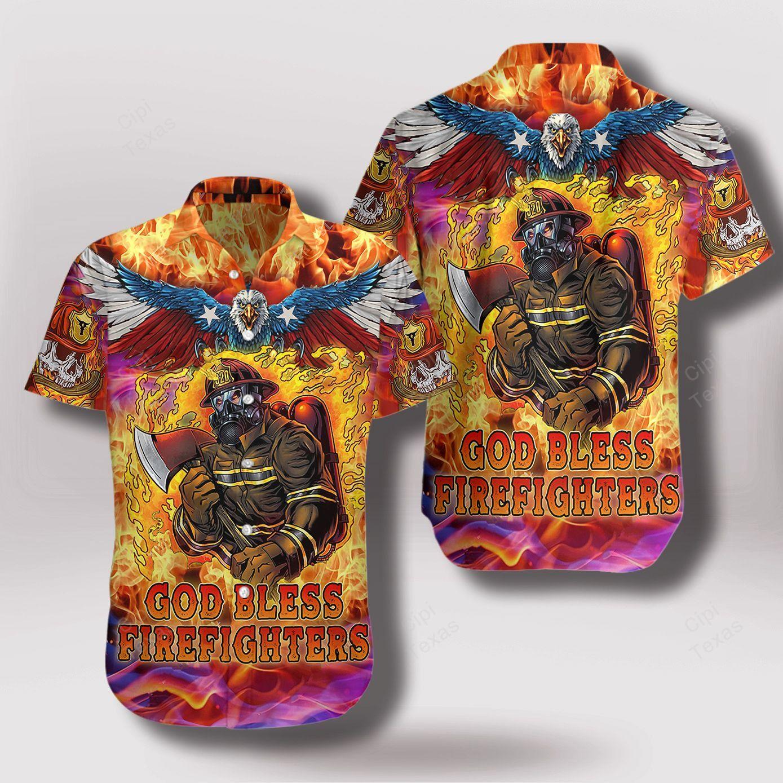 God Bless Firefighters Skull and Eaglel Hawaiian Shirt