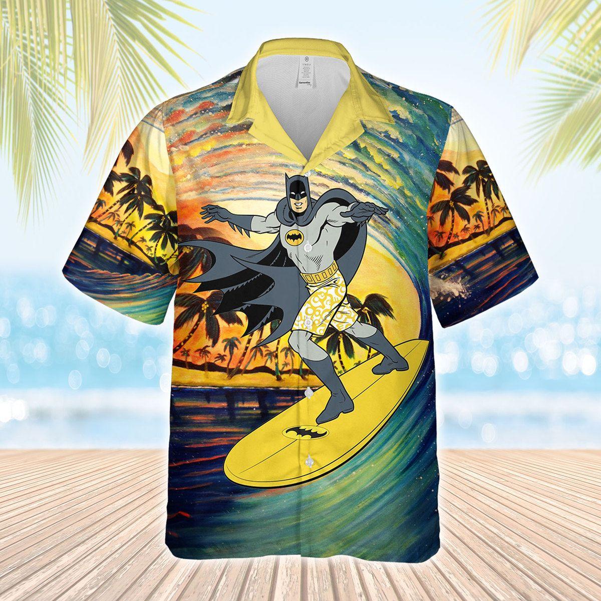 Batman Surfing Hawaiian Shirt and Beach Shorts