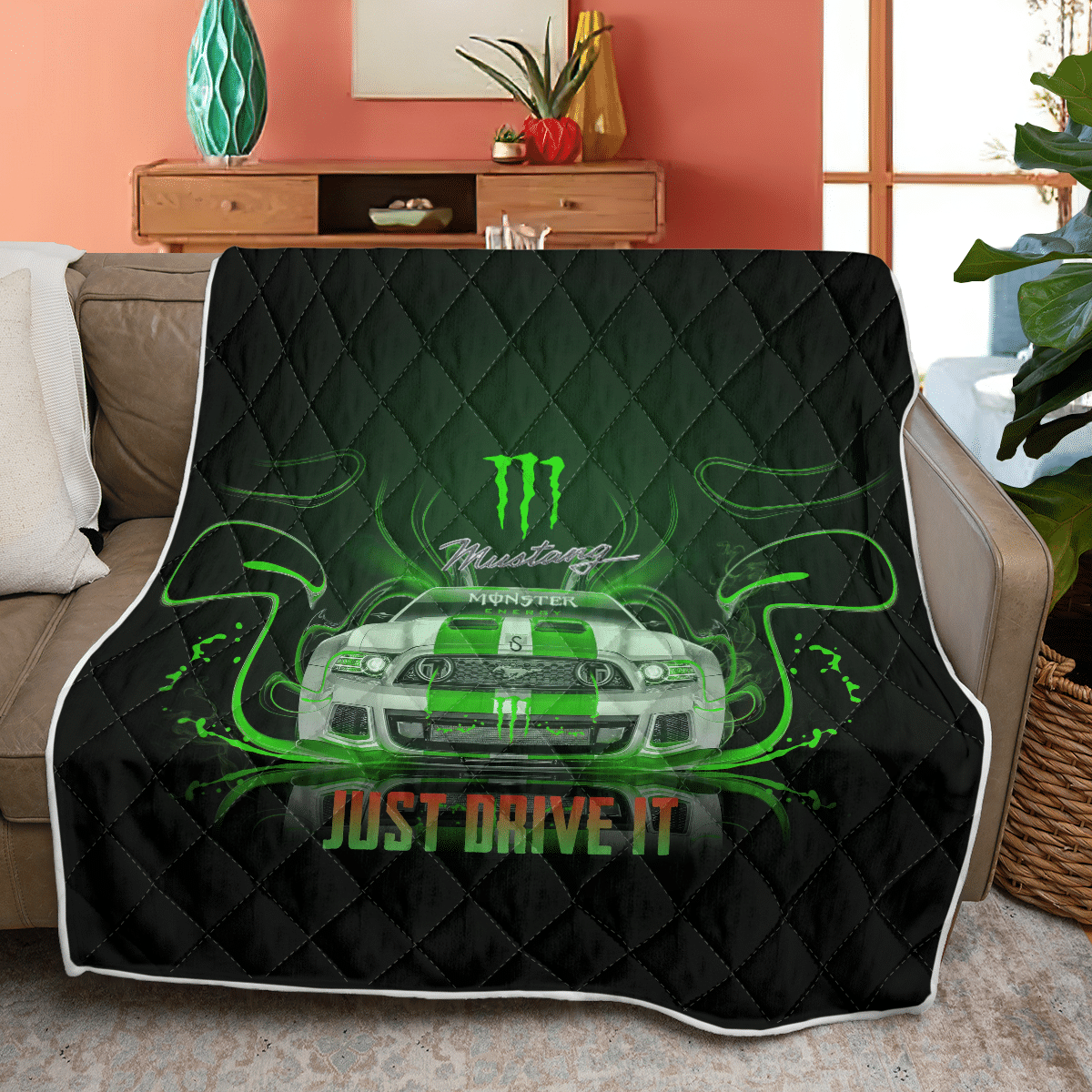 Ford Mustang and Monster Energy Quilt blanket
