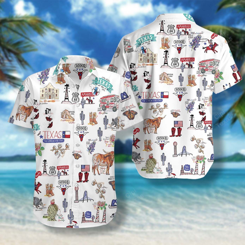 I Love Texas Doodles Cute Hawaiian Shirt Summer Shirt