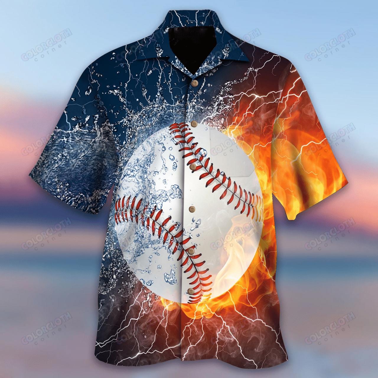 Baseball In My Heart Fire and Water Hawaiian Shirt