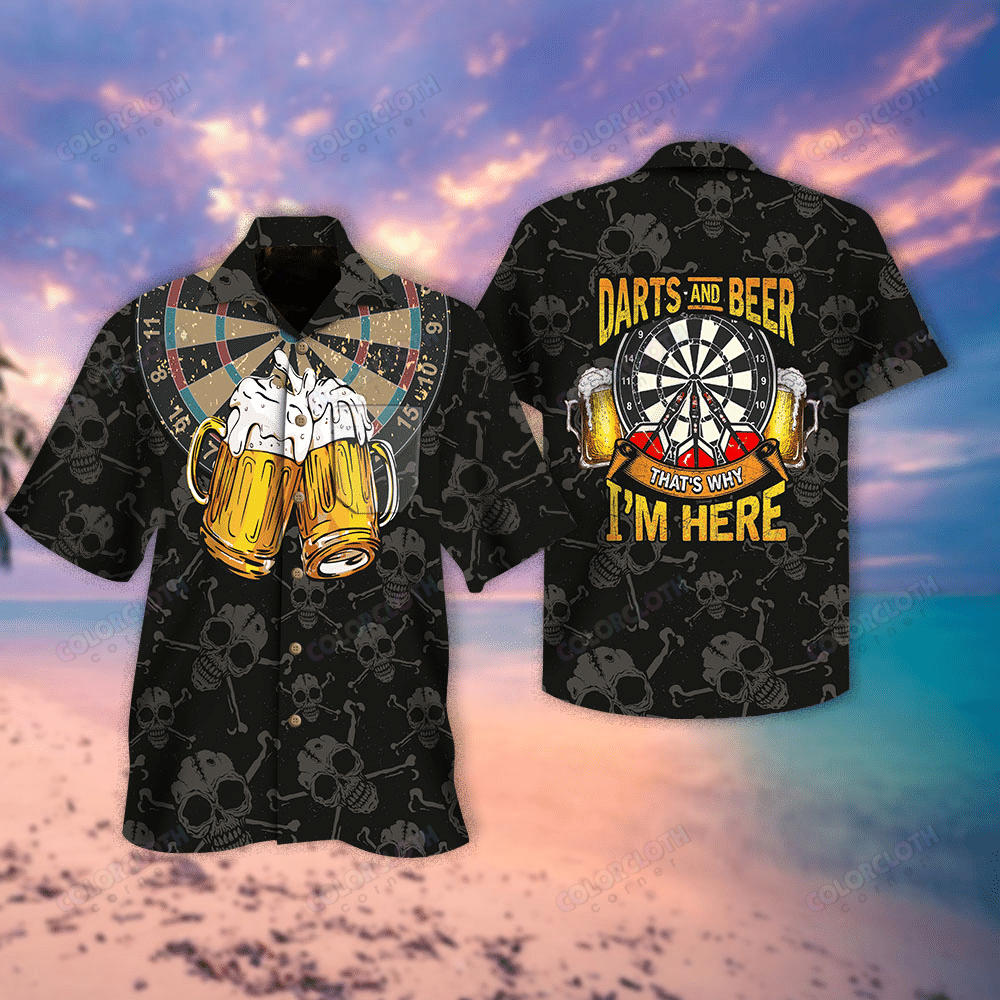 Darts And Beer Thats Why I am Here Hawaiian Shirt Black
