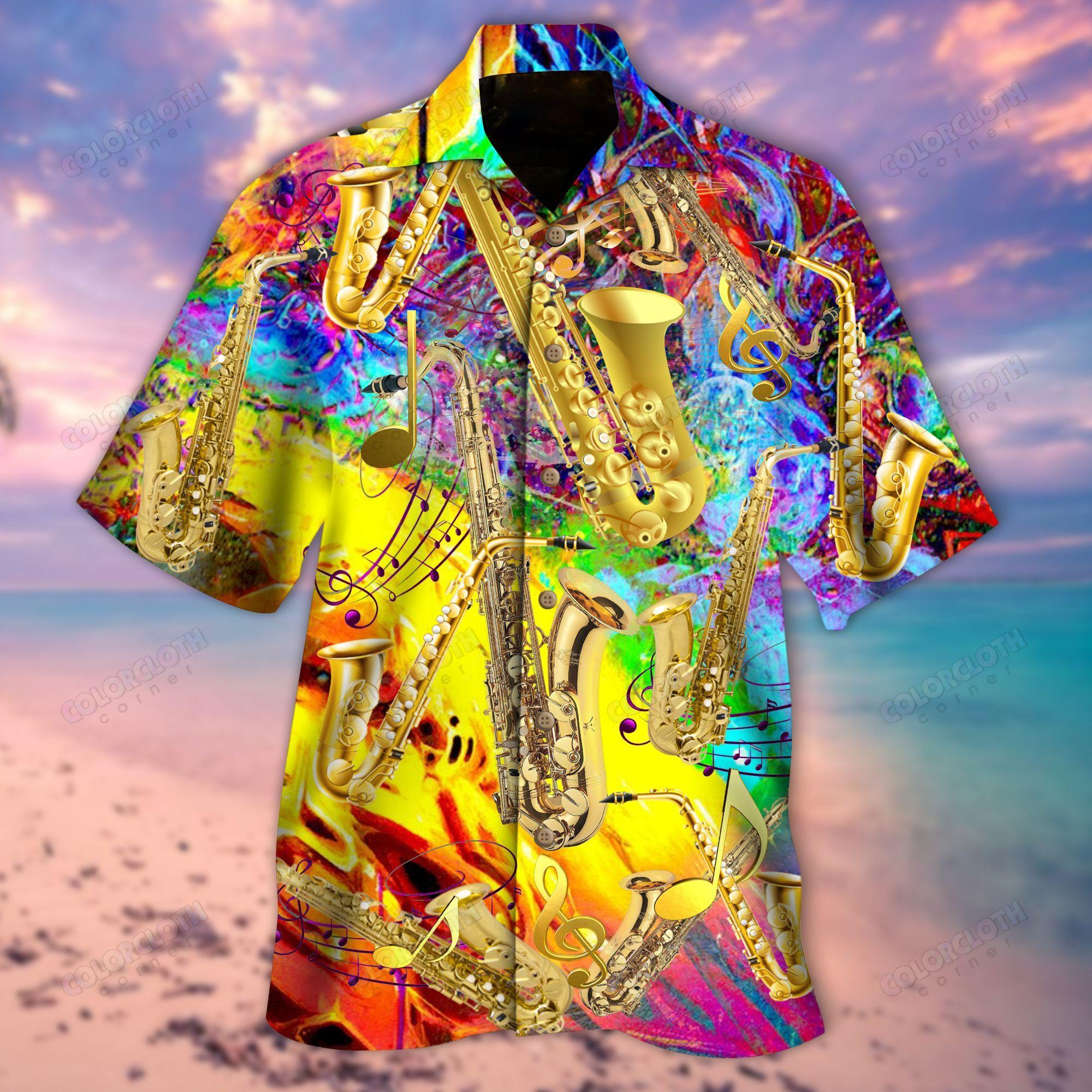 Saxophone I am Saxy And I Know It Colorful Hawaiian Shirt
