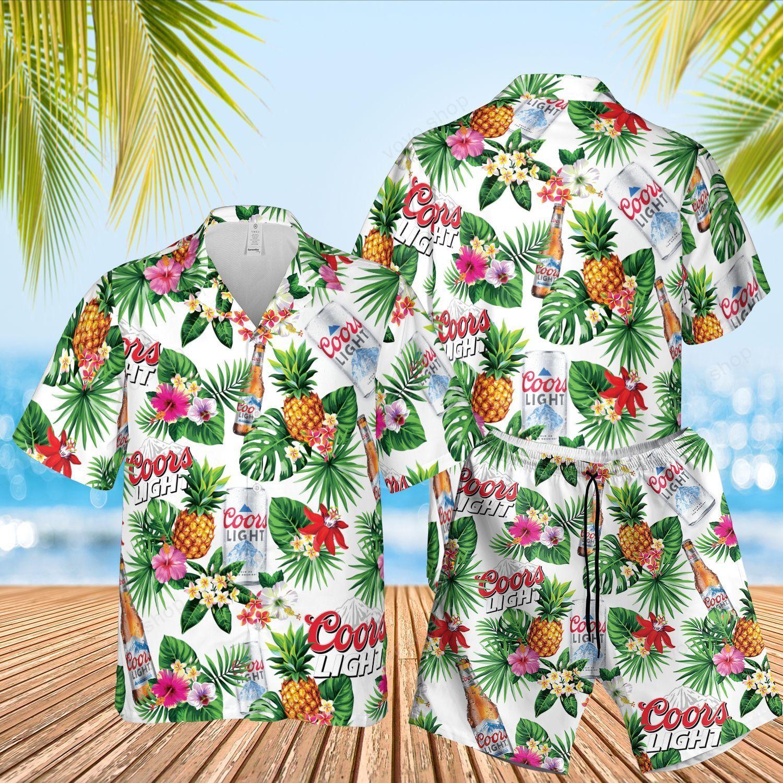 Coors Light Beer tropical flower Hawaiian Shirt and Beach Shorts