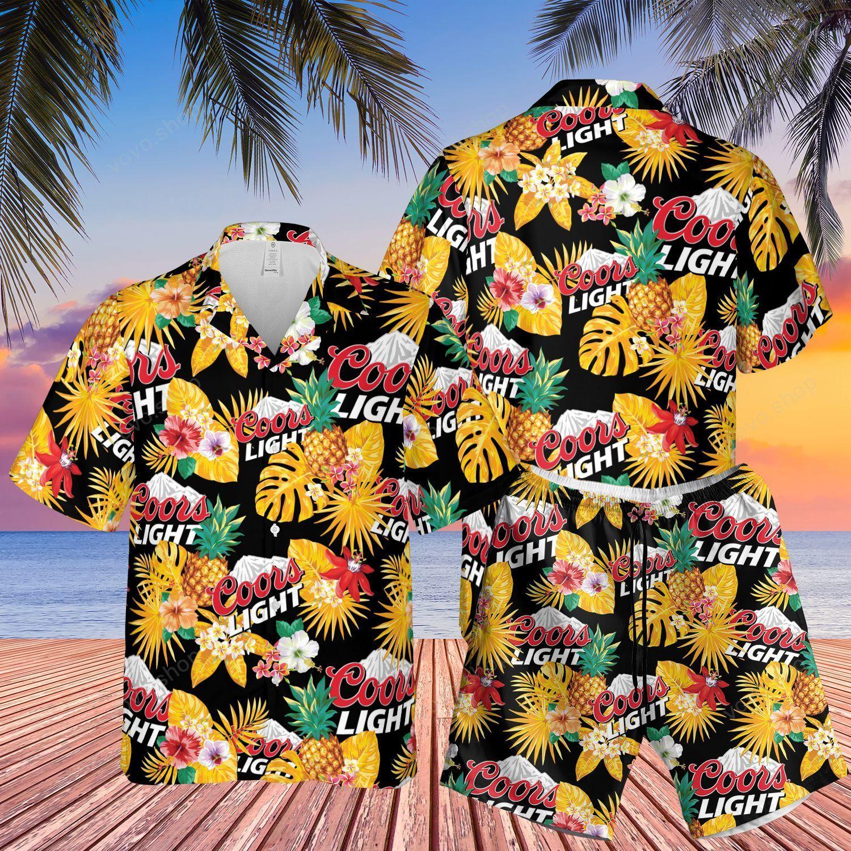 Coors Light Beer pineapple Hawaiian Shirt and Beach Shorts