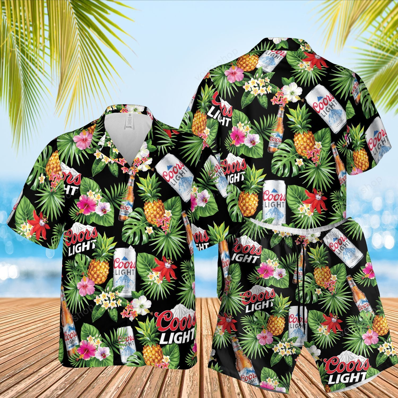 Coors Light Beer black Floral Hawaiian Shirt and Beach Shorts