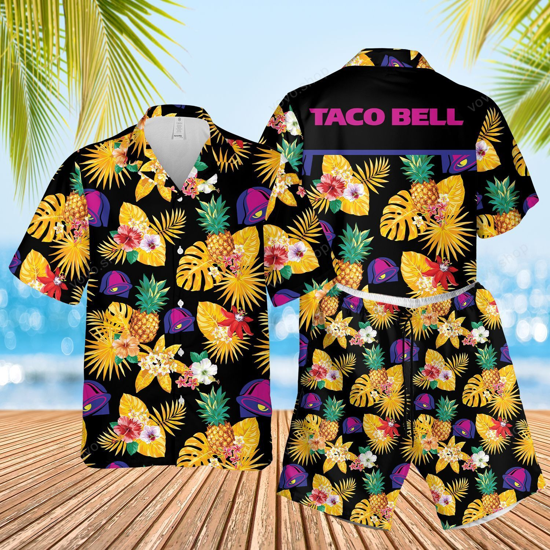 Taco Bell Yellow Pineapple Hawaiian Shirts and Summer Shorts