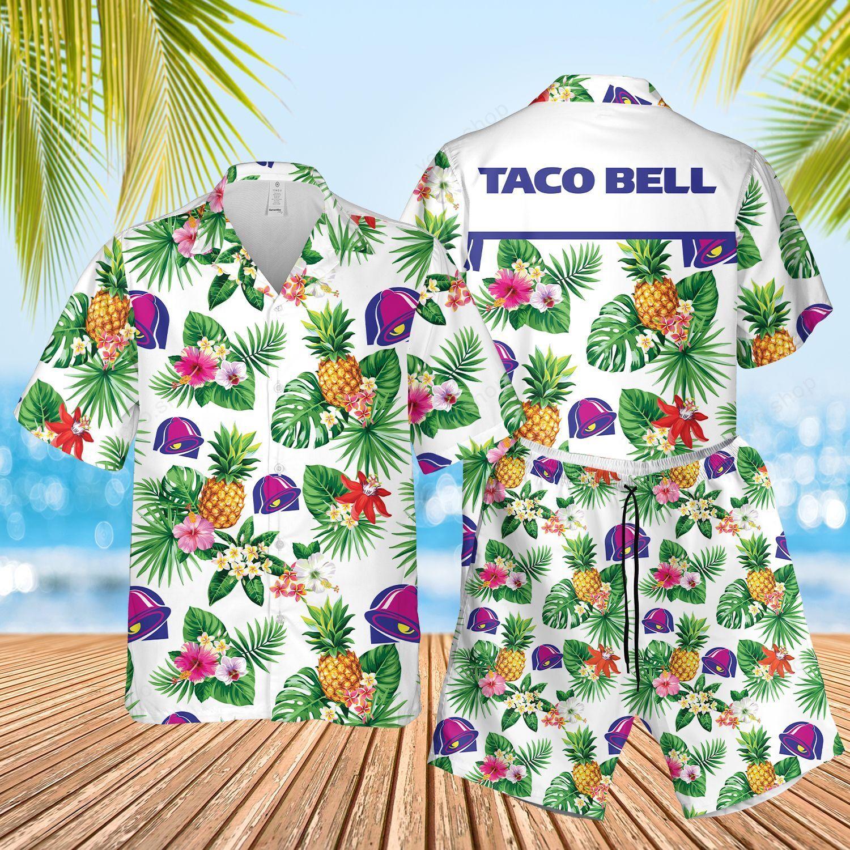 Taco Bell Tropical Flower Aloha Hawaiian Shirts and Summer Short