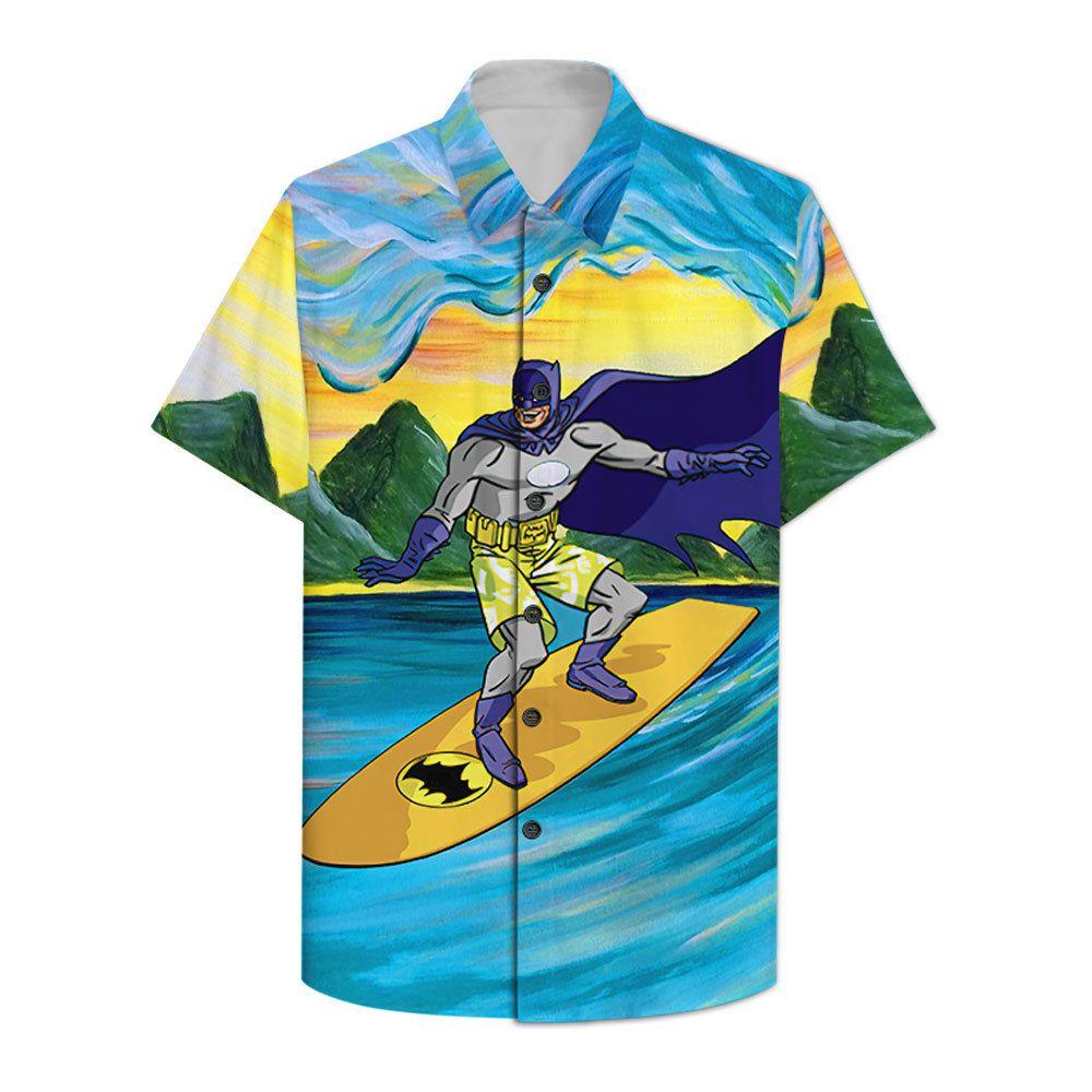 Batman Surfing Hawaiian Shirt Summer Shirt