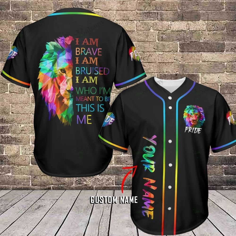 LGBT Lion Pride Brave Bruised Personalized Name Baseball Jersey shirt