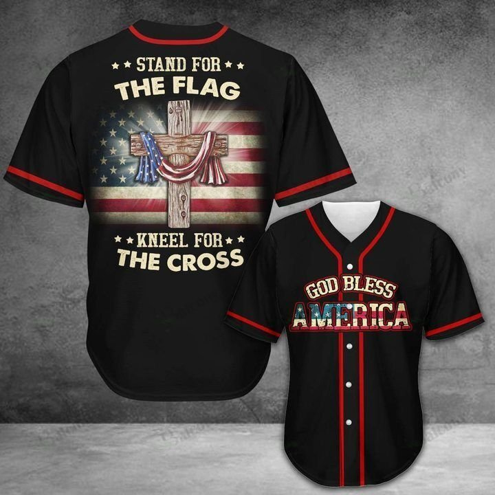 Jesus Stand for the flag and kneel for the cross Baseball Jersey shirt