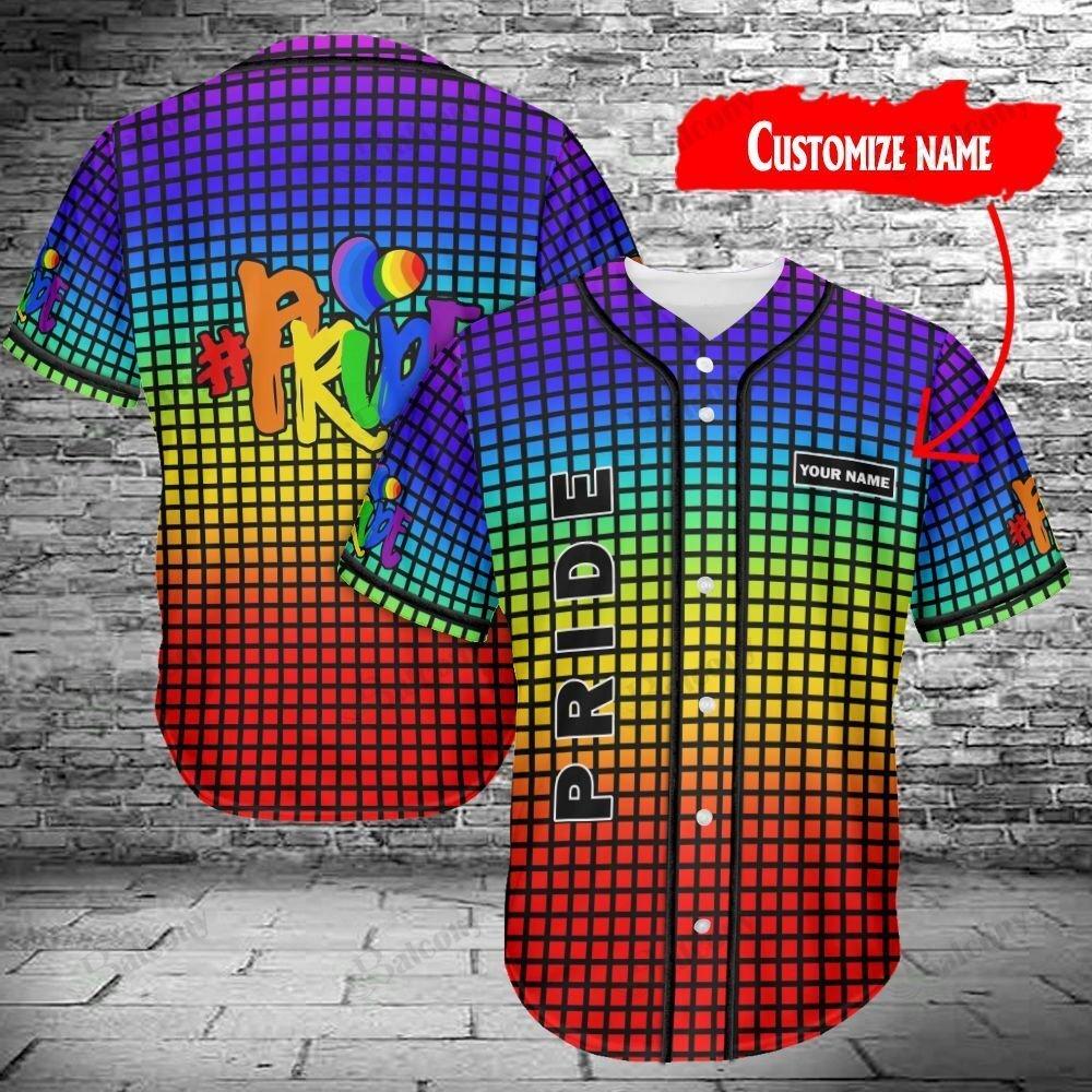 LGBT Color Stripe Lines Pride Custom Name Baseball Jersey shirt