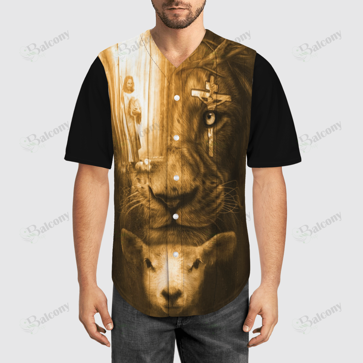 Jesus Sheep Lion Baseball Jersey shirt