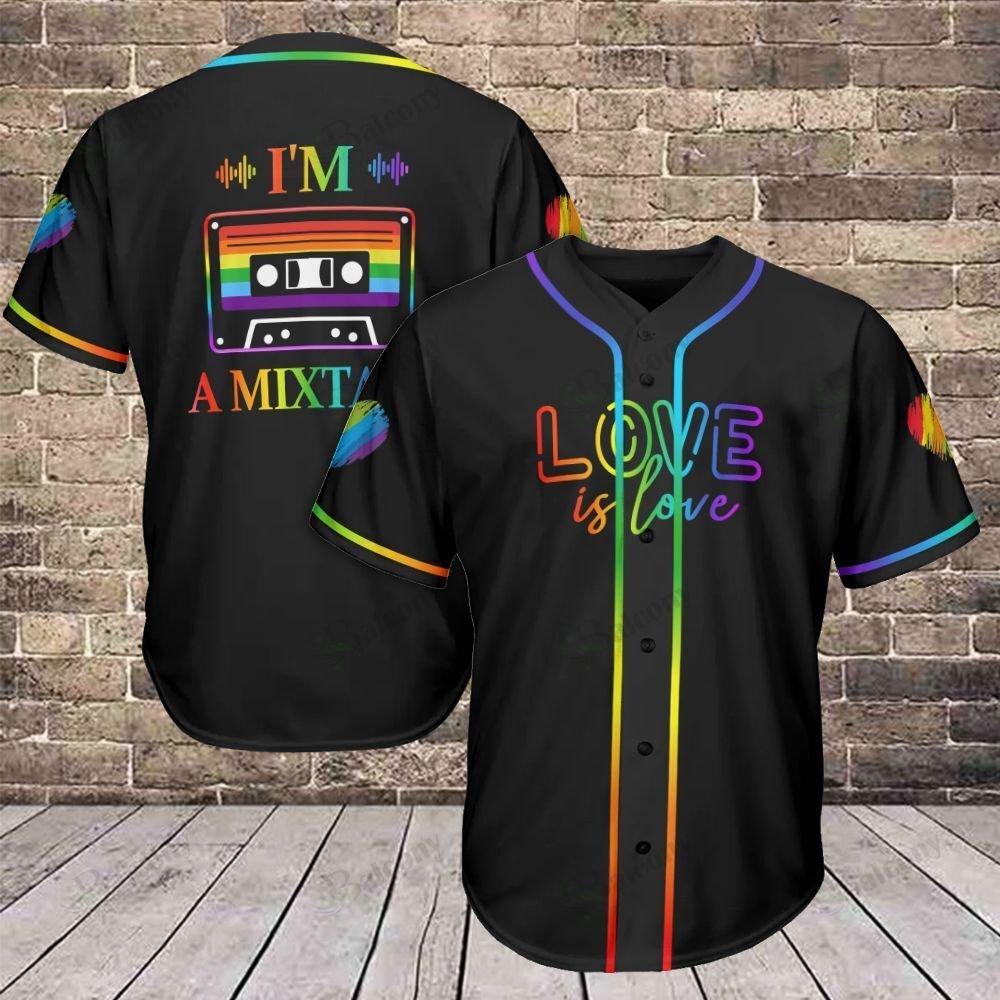 LGBT Mixtape Love is Love Baseball Jersey 315