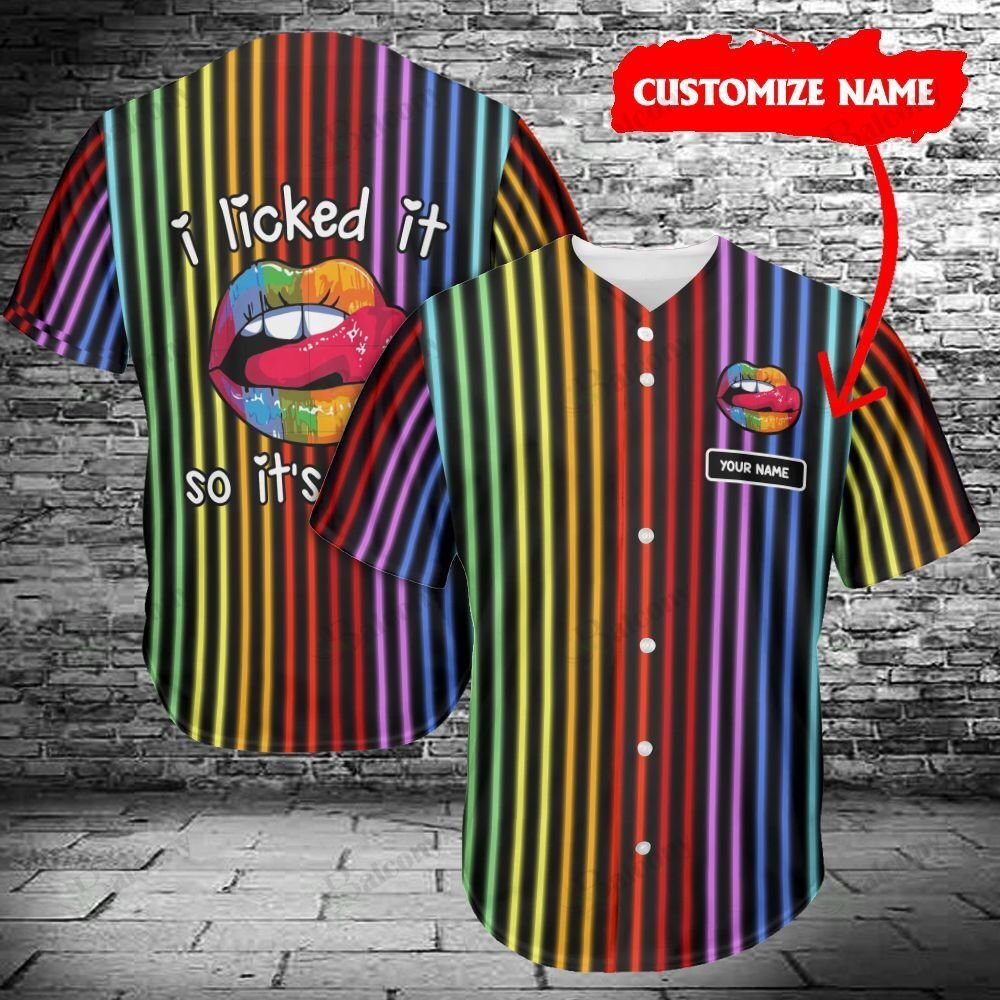 LGBT Lip licked it Pride Personalized Name Baseball Jersey shirt